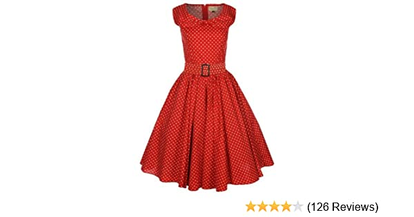 b5d62600342a Lindy Bop 'Hetty' Red Polka Dot Bow Shawl Collar Vintage 1950's Rockabilly  Swing Party Dress (26): Amazon.co.uk: Clothing