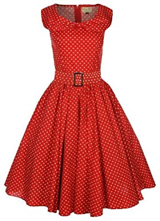 Lindy Bop Hetty Vintage 1950's Robe a Pois Avec Col Chale. (54, Rouge)