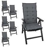 Multistore 2002 6er Set Elegante Gartenstuhlauflage Stuhlauflage Polsterauflage Hochlehner 110x44cm - 4cm Dick Sitzauflage Sitzpolsterauflage Sitzkissenpolster