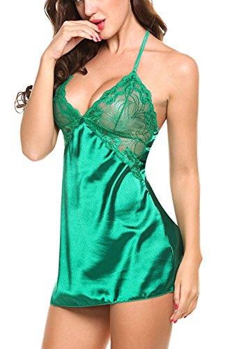 Aogolouk Chimono in seta da donna Pizzo Della Biancheria Babydoll indumenti da letto Capestro, sexy, satin, elegante, con biancheria intima (L, Verde)