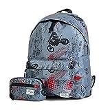 ff36536950 TEMPO - Zaino scuola timbrato + astuccio portamonete regalo. Tessuto  Ripstop. Leggero e resistente