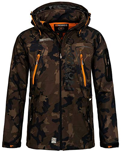 Geographical Norway Herren Softshell Outdoor Jacke Tambour/Taco/Techno abnehmbare Kapuze kaki/orange XXL