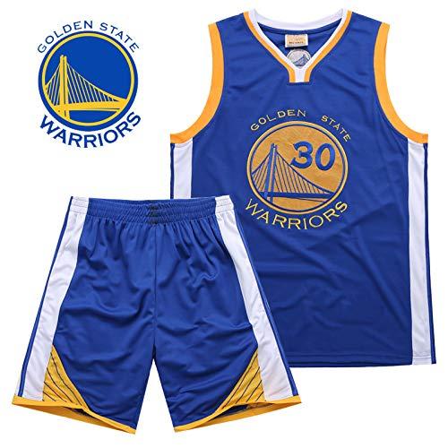 Kids NBA Warriors 30# Curry Basketball-Anzug Jersey Basketballtrikot Sport Swingman Jerseys Basketball Uniform für Herren Männer Fans (Kleidung Boutique Kid)