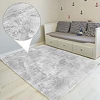 Amazinggirl alfombras Salon Grandes - Pelo Largo Alfombra habitación Dormitorio Lavables Comedor Moderna vivero (Gris Claro, 160 x 230 cm)