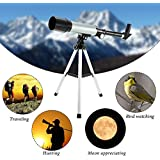 Flying Birds Optical Glass and Metal Tube Refractor Telescope with Tripod and 2 Eyepieces (Silver and Black)