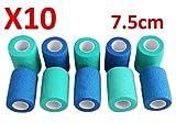 BENDAGGIO COESIVO - BLU E VERDE Fasciatura coesissima allungata 10 rulli x 7,5 cm x 4,5 m Bendaggio flessibili autoadesivi, qualità professionale, bende per avvolgimenti sportivi di primo soccorso