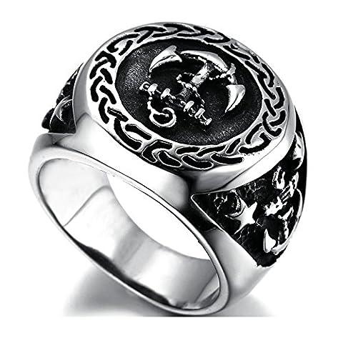 SanJiu Schmuck Herren Ringe Edelstahl Ring Anker Muster Retro Gotik Biker Punk Klassisch Ring für Herren Silber Schwarz Größe 60 (Ss Muster)