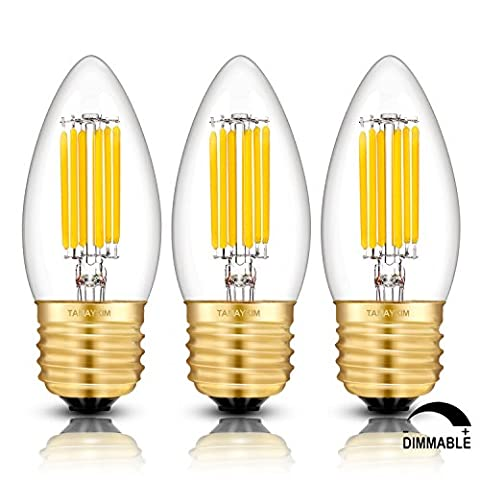 TAMAYKIM C35 6W Dimmable Ampoule Filament LED - 3000K Blanc Chaud 600lm - 6 Watts (Watt Torpedo Candelabra Base)