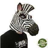 Morbuy Interessant Halloween Maske, Neuheit Erwachsene Latex Tier Masken Perfekt für Fasching Karneval Kostüm Weihnachten Halloween Cosplay Kostüme Für Männer und Frauen (Zebra)