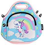FRINGOO® Kids Lunch Bag Neoprene Children Thermal Insulated Tote Bag Shoulder Strap Zipped Pocket Cooler Snack Picnic Nursery School Cute
