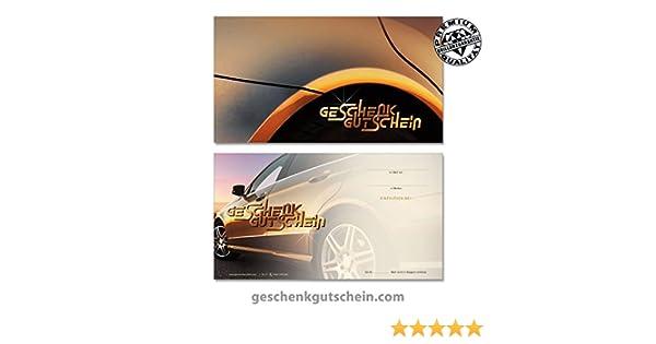 Gutscheine f/ür Auto Fahrzeuge Autohandel KFZ 10 Kuverts 10 hochwertige Gutscheinkarten TK1211 Vorderseite hochgl/änzend
