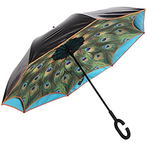 ToxTech Auto-Stand C-Hook ombrello, portatile attesa libero doppio strato Reverse Umbrella ultravioletta a prova di Pavone Umbrella