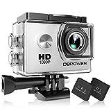 DBPOWER® Action-Kamera wasserabweisend 1080P HD 12MP KIT 2 Akku und verschiedenes Zubehör weiß