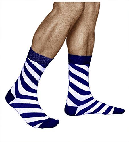 vitsocks Gestreifte Socken für Herren, GEKÄMMTE NATUR BAUMWOLLE, Blau und Weiß, JOY, 43-46