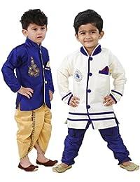 Stylokids Silk Kurta Pyjama and Kurta Dhoti Indowestern Combo Set for Boys