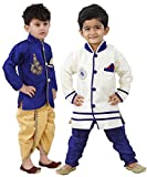 #7: Stylokids Silk Kurta Pyjama and Kurta Dhoti Indowestern Combo Set for Boys