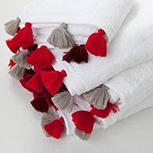 Serviette De Toilette 50X100 Eponge Unie Coton 500Gr Pampilles Blanc/Rouge