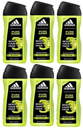Coty Beauty Germany GmbH, Consumer Adidas pure game 3in1 duschgel für herren reinigt körper und haar 6er pack 6 x 250 ml