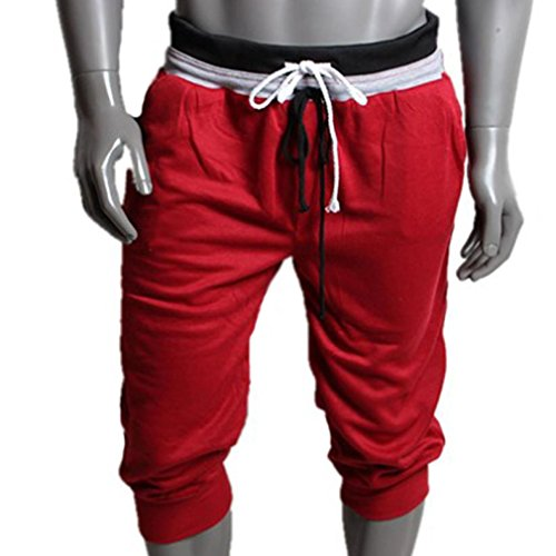 Sport Sweat Pantalons Short,Covermason Pantalon De Survêtement Hommes Sport Short Harem Danse Ample Pantalon De Jogging De Formation (Rouge, L)
