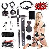 WeDol SMSet Bondageset Fesseln BDSM 10 Stück erotikSexspielzeug für Anfänger Paare(halsband Handschellen Fußfesseln Bondage) schwarz