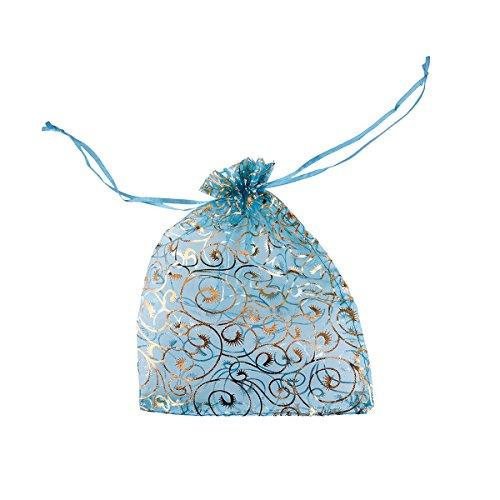 50Stück 17cmx23cm Schmucktasche Geschenk beutel himmelblau blume rebe seide tasche (Blumen-seide Tasche)