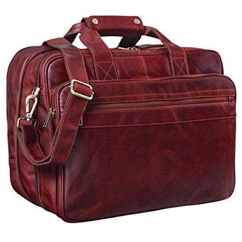 STILORD 'Leopold' Grande borsa in pelle da Insegnante Professore Portadocumenti a tracolla per Ufficio Lavoro A4 raccoglitori in cuoio Uomo Donna, Colore:rosso