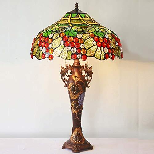 DSHBB Tiffany Stil Lampe, Europäische Einfache Warme Romantische Retro Glasmalerei Tischleuchten Traube Mit 18-Zoll-Schirm, Schlafzimmer, Wohnzimmer Dekoration