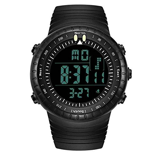 Magiyard Hombres LED Digital Fecha de Deportes militares de goma de cuarzo reloj de alarma impermeable (Negro)