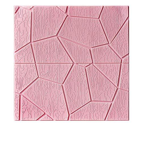 Papiertapete 3D Stereo Wandaufkleber wasserdicht Schlafzimmermöbel Renovierung Aufkleber 2 * 2 Fuß Oberflächenschutz (Color : Pink, Größe : 2 * 2 feet)
