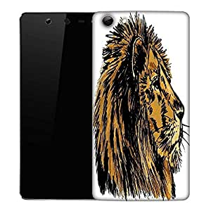 Snoogg sketch of a big male african lion vector illustration Designer Protective Back Case Cover For Micromax Canvas Selfie Q348