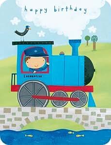 Joyeux anniversaire, garçonconducteur de train,carte de voeux