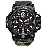 Reloj de pulsera para hombre militar, 50 m, resistente al agua, reloj de cuarzo, reloj deportivo masculino, camuflaje, color verde militar