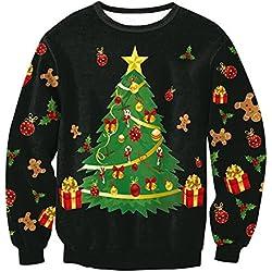 Suéter de Navidad de Las Mujeres - 2017 Otoño e Invierno Jersey de Punto de Moda Casual Sudadera de Manga Larga Jumper Pulóver Outwear