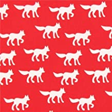 Tissu bio rouge avec des renards blancs, par Copenhagen Print Factory
