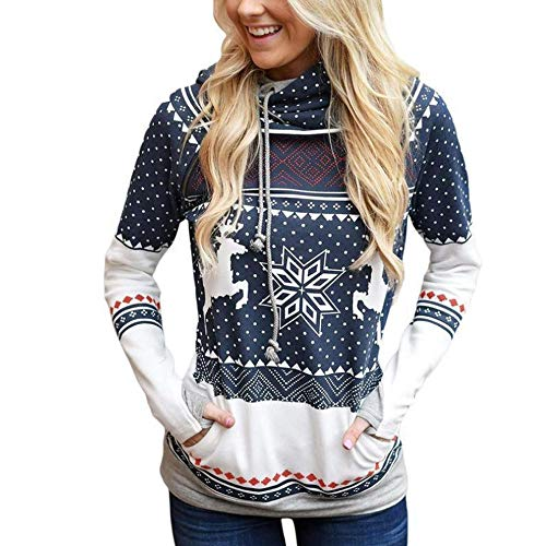 OverDose Damen Frohe Weihnachten Frauen Dots Elk Snowflake Print Tops Kapuzenpulli Pullover Bluse Party Clubbing Outing Dating Outwear