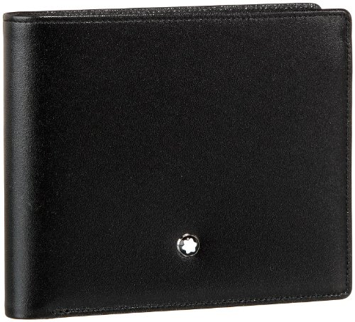 Wallet 11 cc, made of black European full-grain cowhide with unique Montblanc deep shine, jacquard lining with Montblanc brand name, Montblanc emblem with palladium-finish ring, with view pocket, 11 pockets for credit cards, small view pocket, compar...