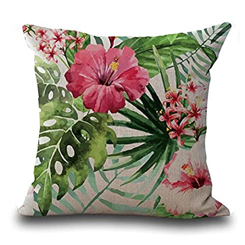 Cushion Covers, Bestow Vintage Flower Tropical Leaves Pillow Case Home Decoration Square Sofa Bed Waist Throw Cushion Cover (Pattern