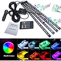 LED Car Interior Lights,Car Led Strip Light Glow Neon Decoration with Sound Active Function and Wireless Remote Control Including Car Charger (8 Colors,72LED)