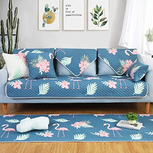 HM&DX Schnitt Baumwolle Sofa Abdeckung Slipcover Gesteppter Flamingo Anti-rutsch Sofaschonbezug Nordische Sofahusse Verkauft In Stück-blau Kissen 17.7 * 17.7in - Gesteppte Kissen-abdeckungen Baumwolle