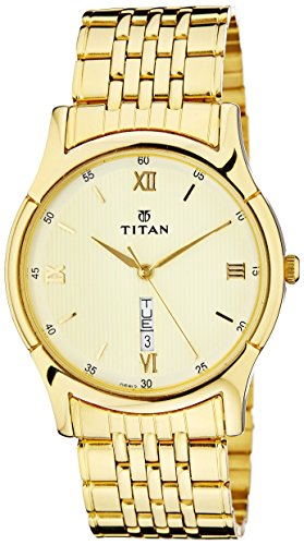 51ECbBcPegL - Titan 1636YM03 Gold Men watch