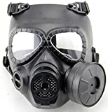 WorldShopping4U Dummy Anti Fog Gas Face Mask M04 w Turbo Fan Airsoft paintbal protection des engins (Black)