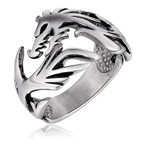 Bishilin uomo anello da uomo acciaio inossidabile drago anello di amicizia vintage argento misura 20