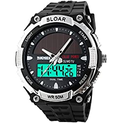 Amstt Men Solar Watch for Boys Military Watches 5ATM Waterproof Analogue Digital Outdoor Sport WatchWatches Stopwatch Silver