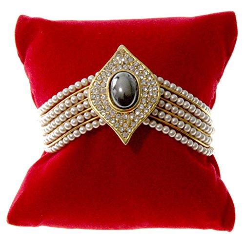 Cuscino per gioielli in velluto per bracciali o orologi, Tessuto, rosso, (L) 8 x (P) 8