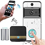 KOBWA Wireless Video Doorbell, Sonnette WiFi 720PHD étanche Vidéo Real-Time Audio bidirectionnel Night Vision App Motion Burglar iOS, Android, Windows (Y Compris la Batterie Rechargeable)
