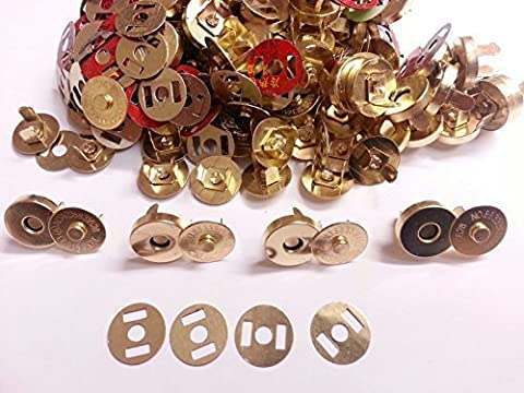 50 sets of Gold 14mm Magnetic Fastener Clasps, Snaps Bags Craft Sewing Buttons