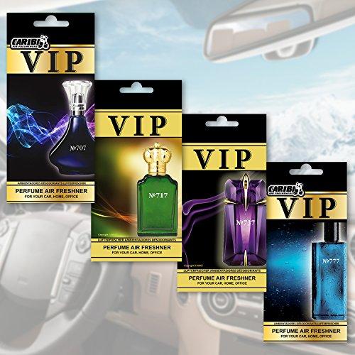 Preisvergleich Produktbild caribi VIP Lufterfrischer, Luxus-Parfüm für Ihr Auto 4Stück Premium Designer-Düfte, inspiriert von den teuersten Düften der Welt.