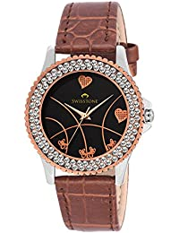 Swisstone VG515CP-BLK-BRW Black Dial Brown Leather Strap Analog Wrist Watch For Women/Girls