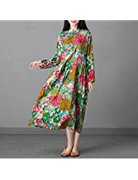 YAN Nuevos Vestidos de Las Mujeres de Estilo Vintage de Manga Larga con Estampado Floral Vestido Largo Maxi Primavera y Verano Fiesta de…