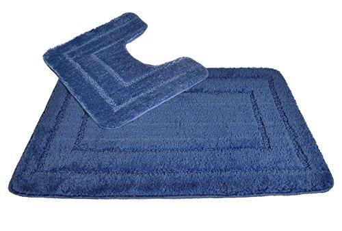 Sockel- und Badematten-Set - 100% Luxus, Mikrofaser-Polyester, schnell trocknendes Toiletten- / Badezimmermatten-Set, Design Allure Bath Fashions Lisa Border, 2-teiliges Badezimmer-Set (Blaufarben)